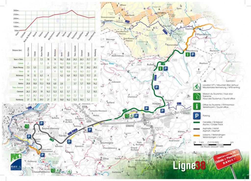 Plan de la Ligne 38 (source : brochure de la Province de Liège)
